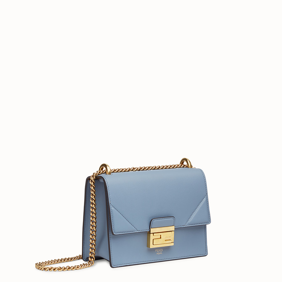 FENDI KAN U SMALL - Light blue leather mini-bag - view 3 detail