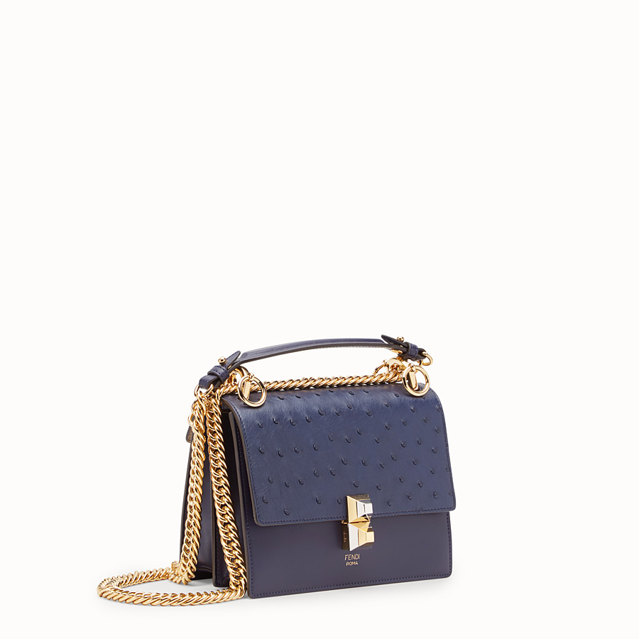 FENDI KAN I SMALL - Blue leather mini-bag with exotic details - view 2 detail