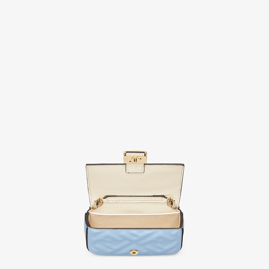 FENDI NANO BAGUETTE CHARM - Light blue nappa leather charm - view 4 detail