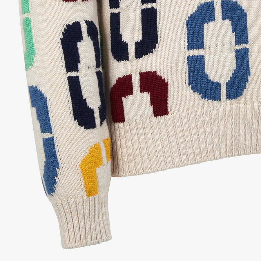 FENDI PULLOVER - Multicolour wool jumper - view 3 detail