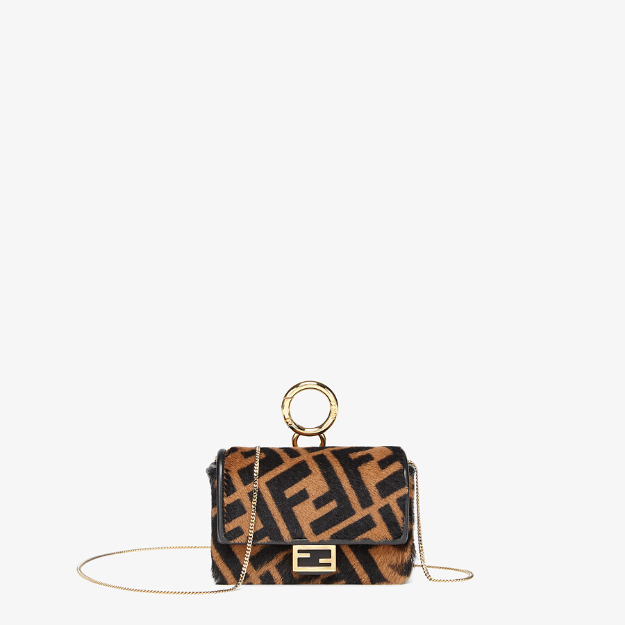 FENDI NANO BAGUETTE CHARM - Brown sheepskin charm - view 1 detail