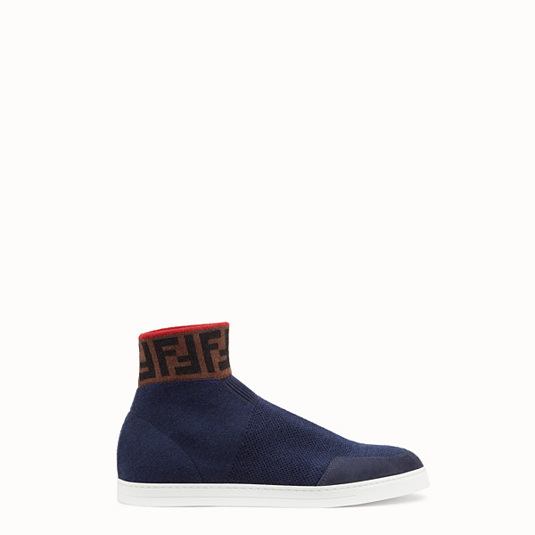 FENDI SNEAKER - High top in maglia di lana blu - vista 1 thumbnail piccola