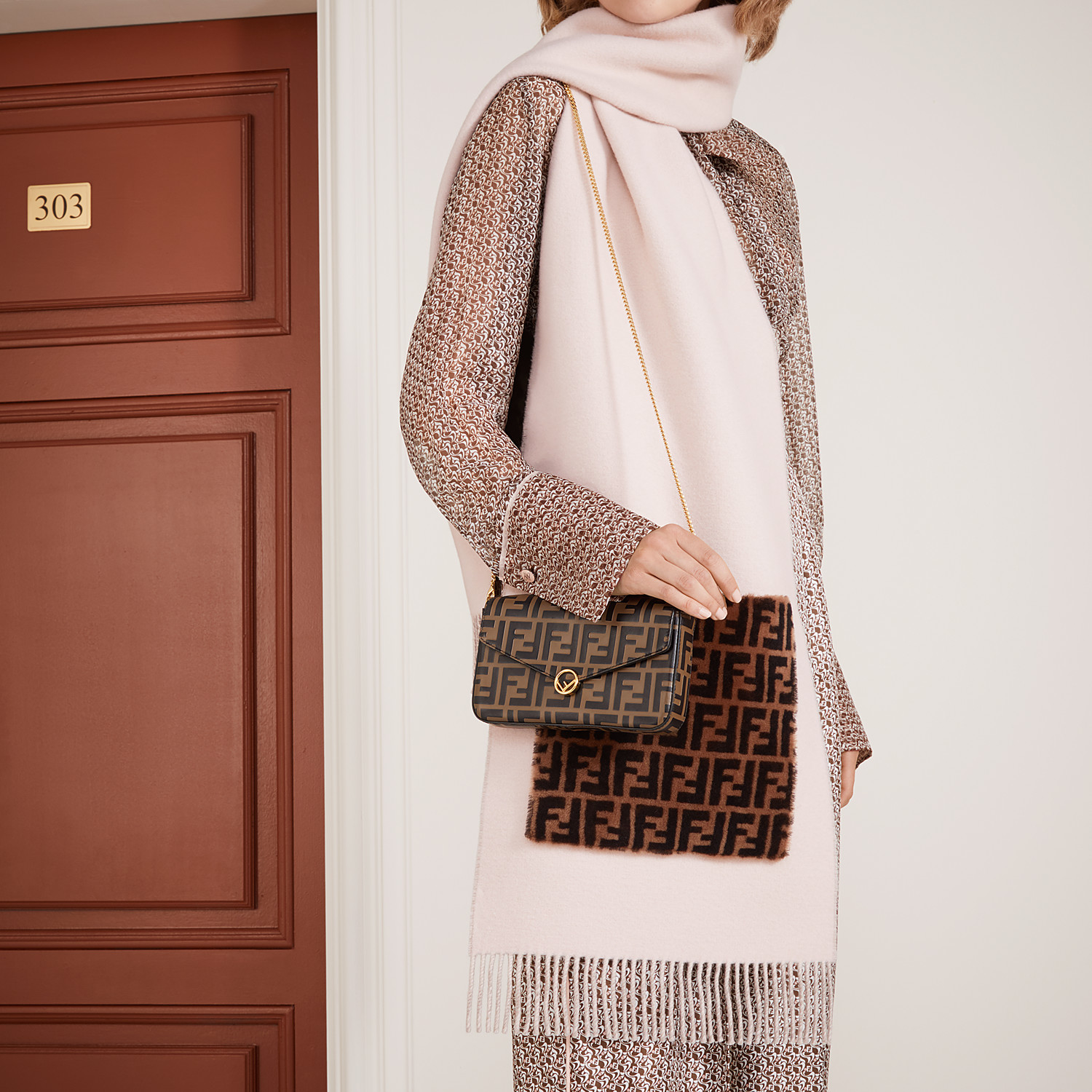 FENDI WALLET ON CHAIN WITH POUCHES - Brown leather mini-bag - view 7 detail