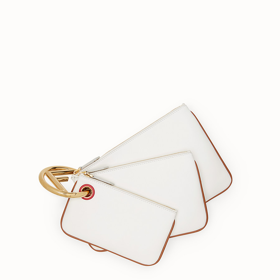 FENDI TRIPLETTE - White leather pouch - view 1 detail