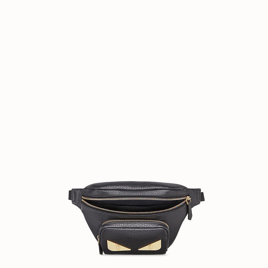FENDI BELT BAG - Black Romano leather belt bag - view 4 detail
