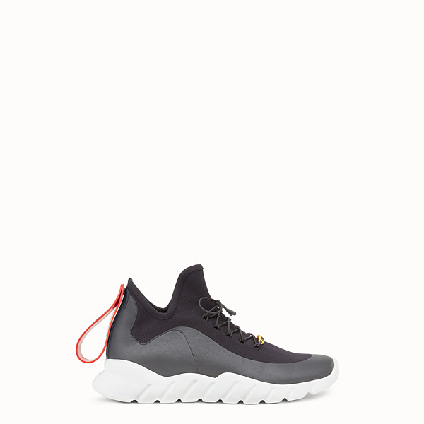 FENDI SNEAKERS - High-tops in black technical knit fabric - view 1 small thumbnail