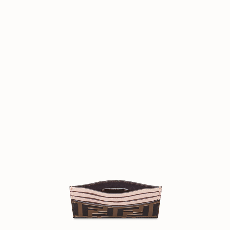 FENDI CARD HOLDER - Brown leather flat card holder - view 3 detail