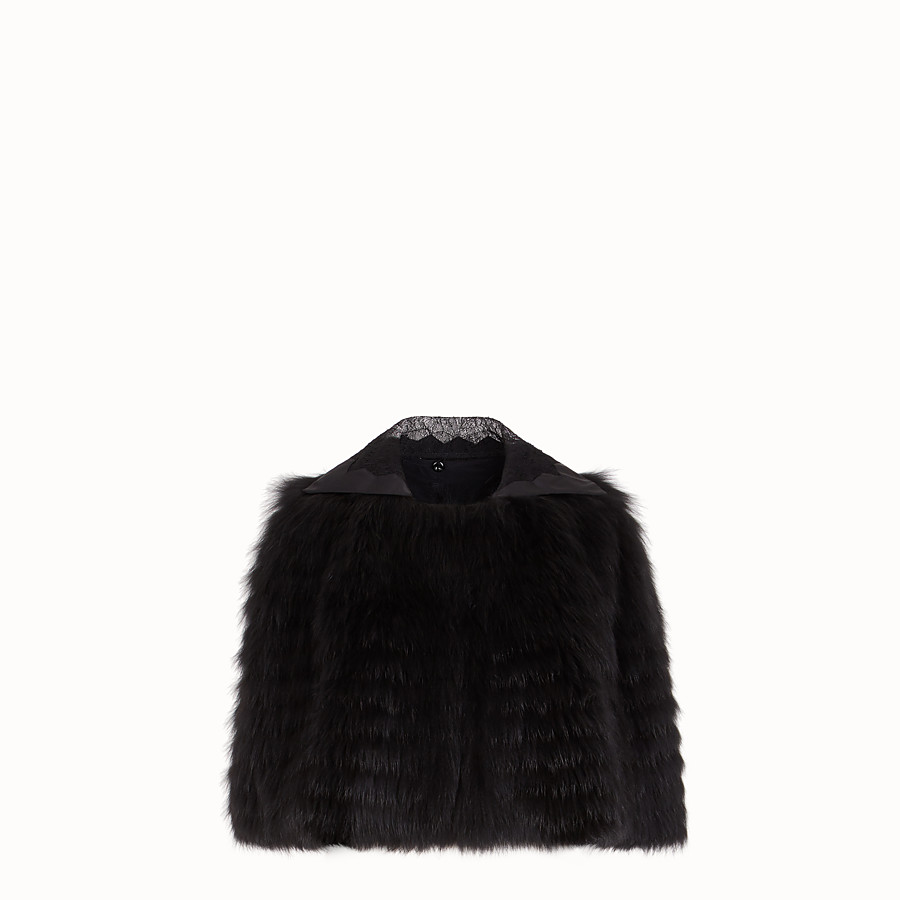 FENDI CAPE - Black fox fur cape - view 1 detail