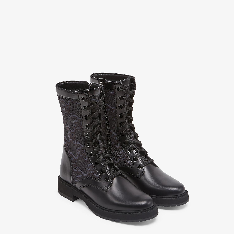 FENDI SIGNATURE - Black leather biker boots - view 4 detail
