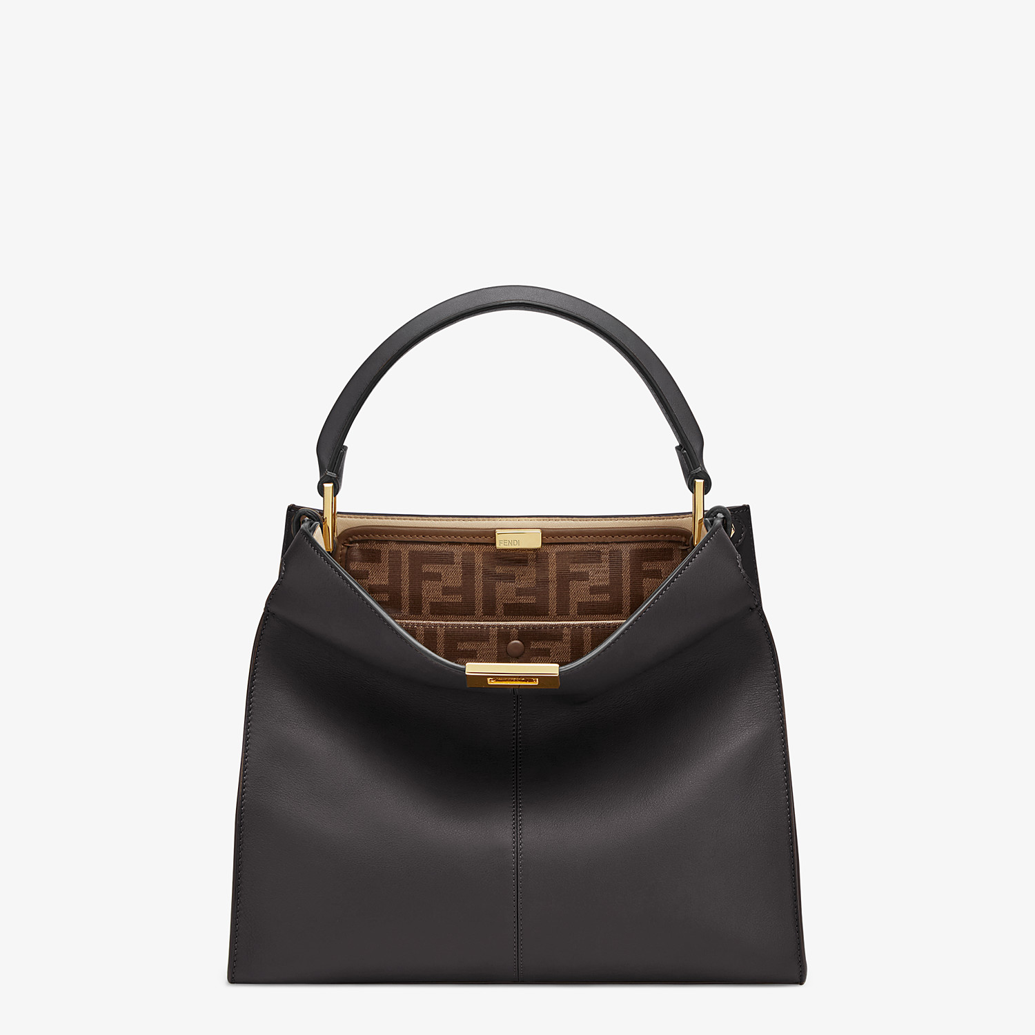 FENDI MEDIUM PEEKABOO X-LITE - Black leather bag - view 2 detail