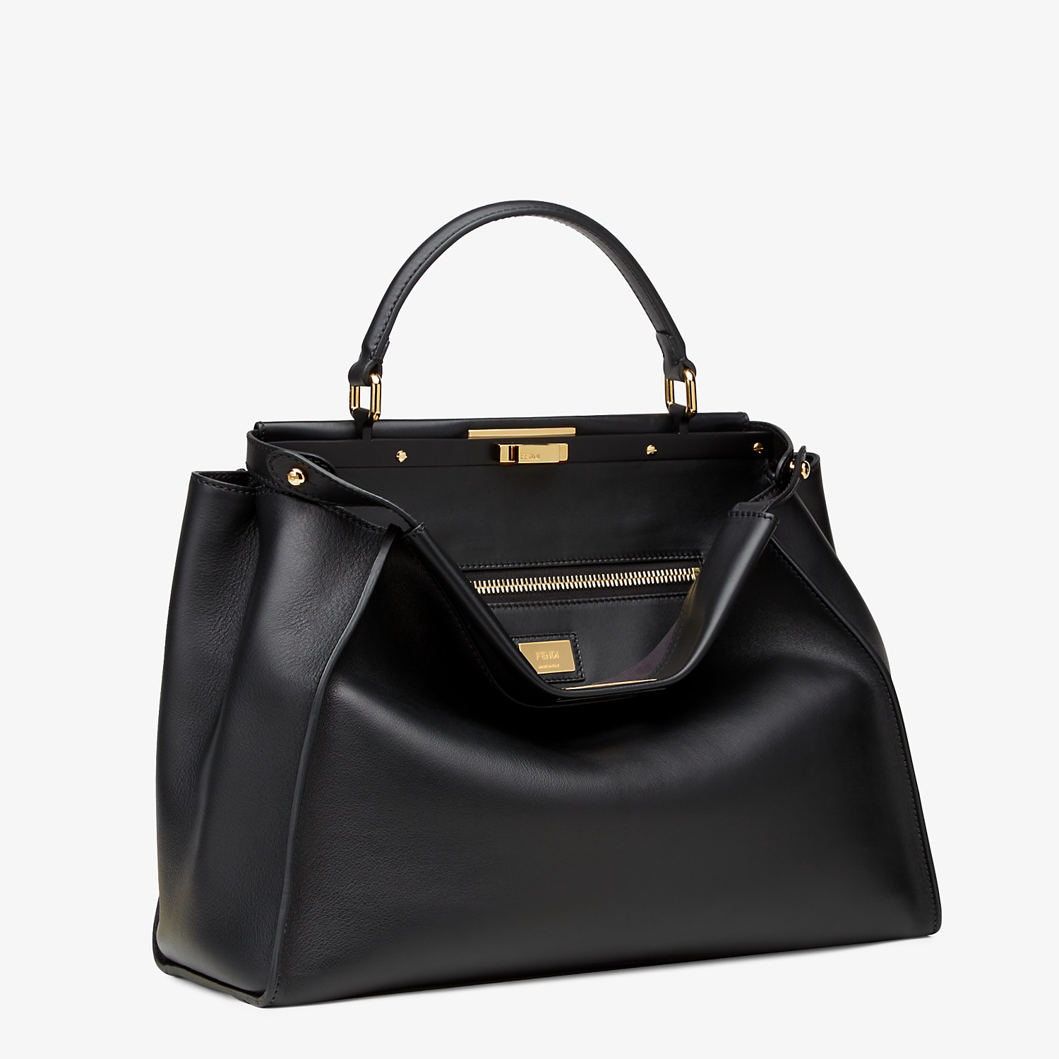 FENDI PEEKABOO ICONIC LARGE - Black leather bag - view 2 detail
