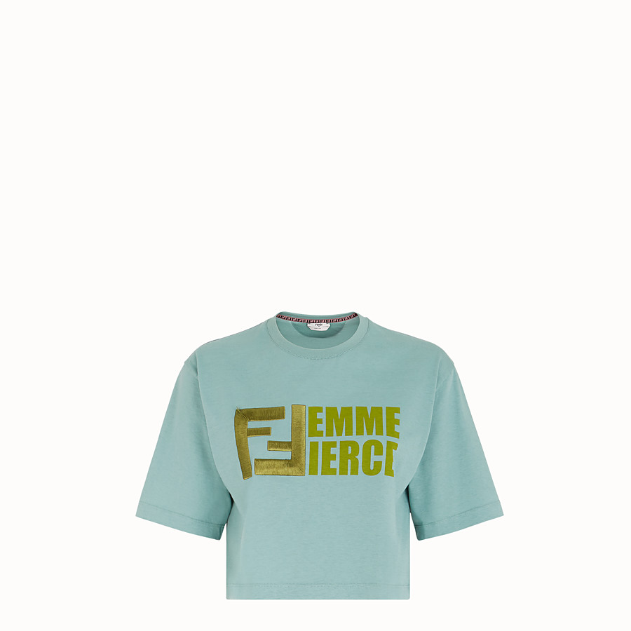 FENDI T-SHIRT - Pale blue cotton T-shirt - view 1 detail