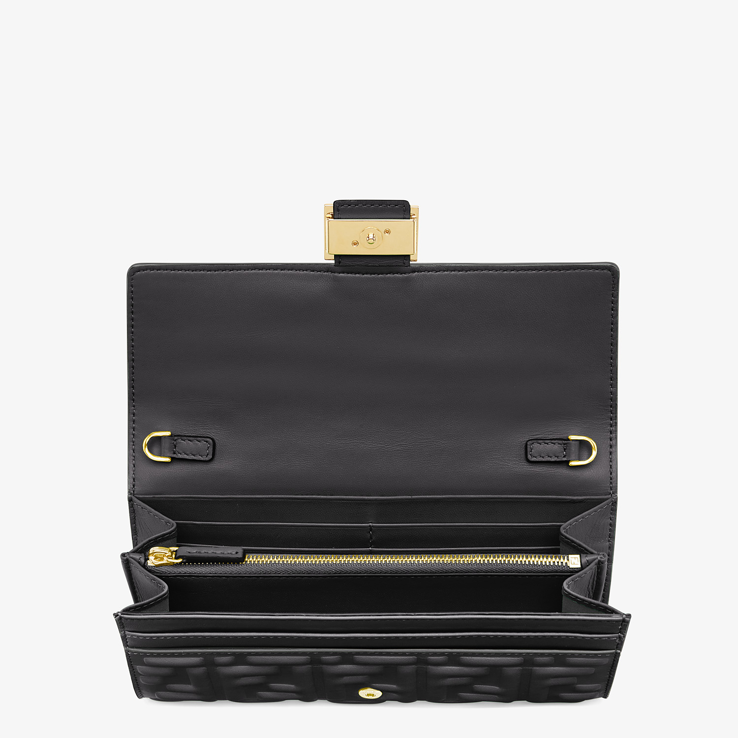 FENDI CONTINENTAL WITH CHAIN - Black nappa leather wallet - view 4 detail