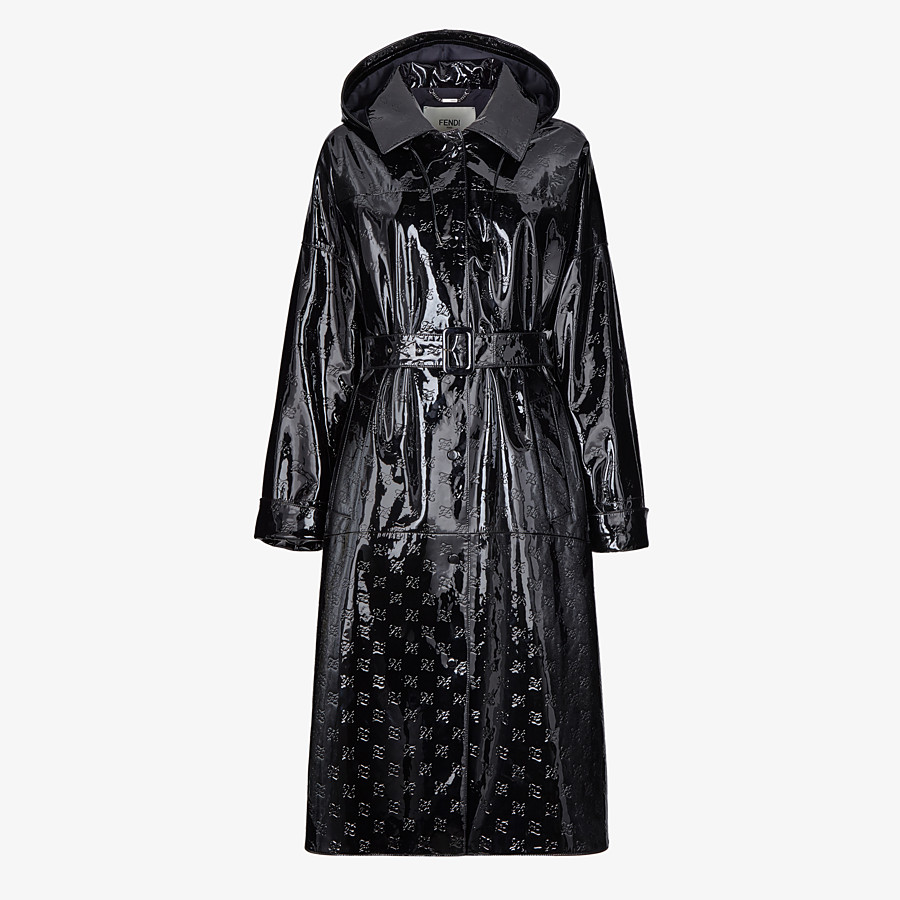 FENDI OVERCOAT - Parka in black patent leather - view 1 detail