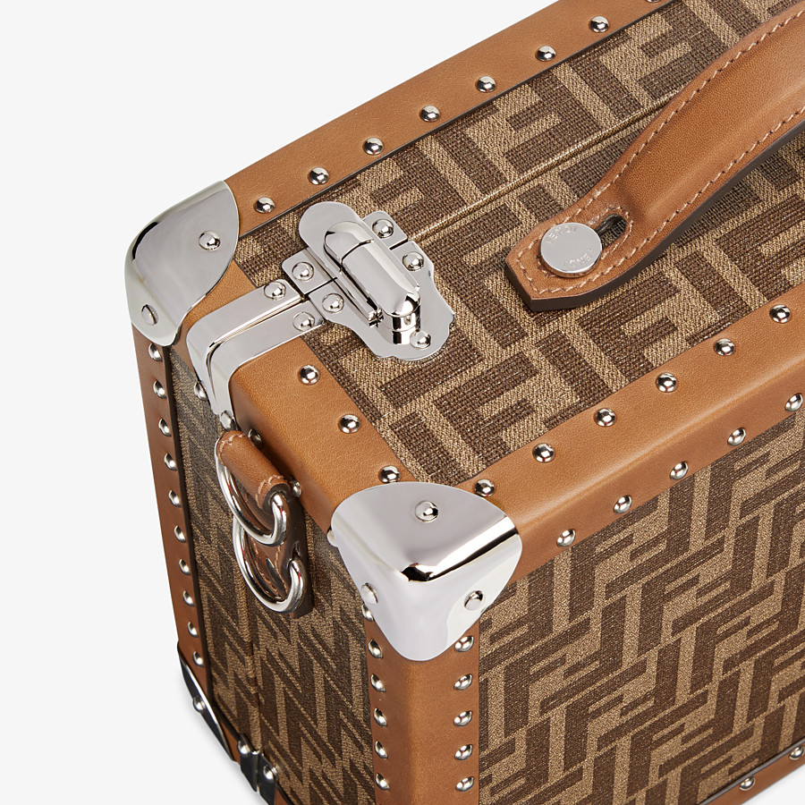 FENDI RIGID SUITCASE SMALL - Brown fabric suitcase - view 5 detail