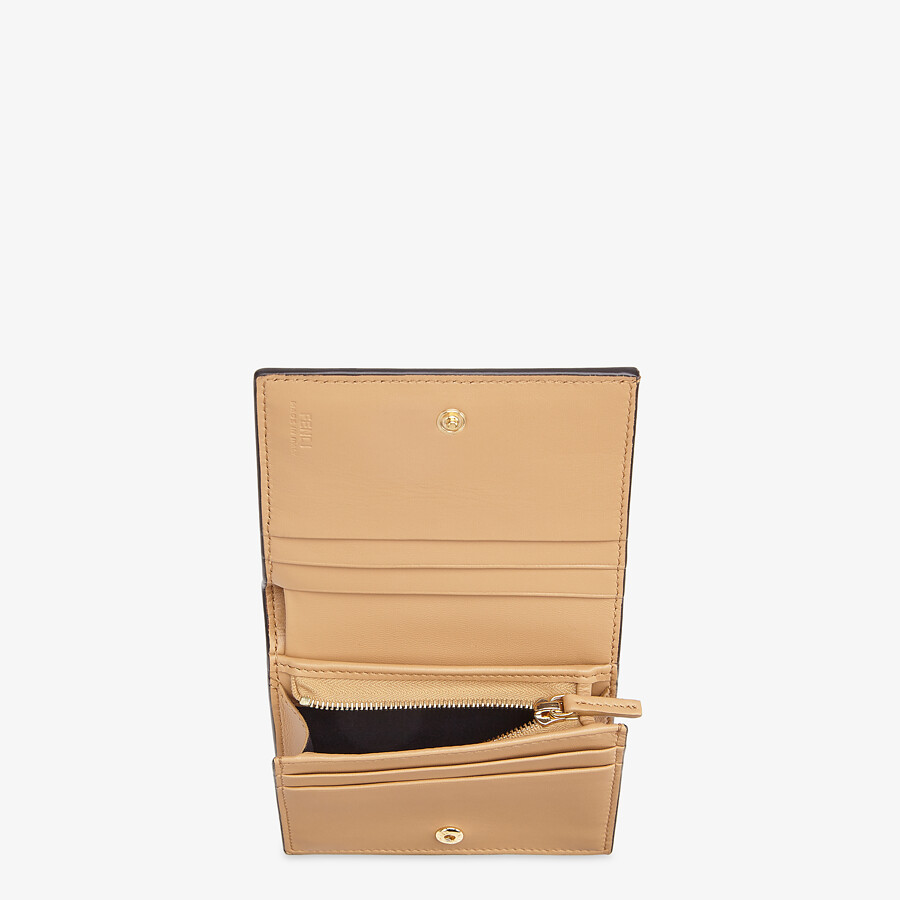 FENDI SMALL WALLET - Beige nappa leather wallet - view 3 detail