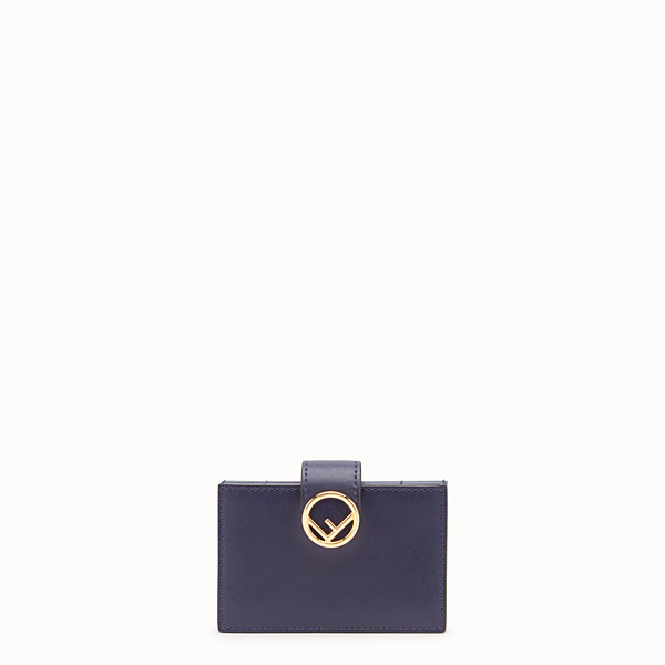FENDI CARD HOLDER - Blue leather gusseted card holder - view 1 small thumbnail