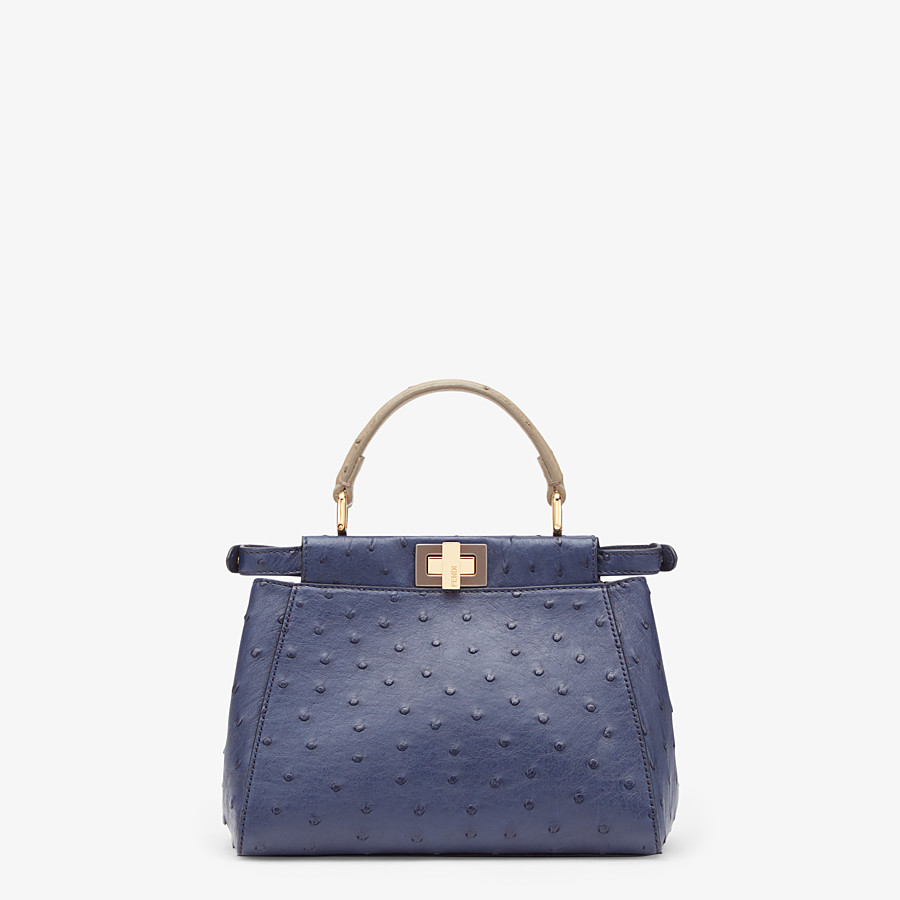 FENDI PEEKABOO ICONIC MINI - Blue ostrich bag - view 3 detail