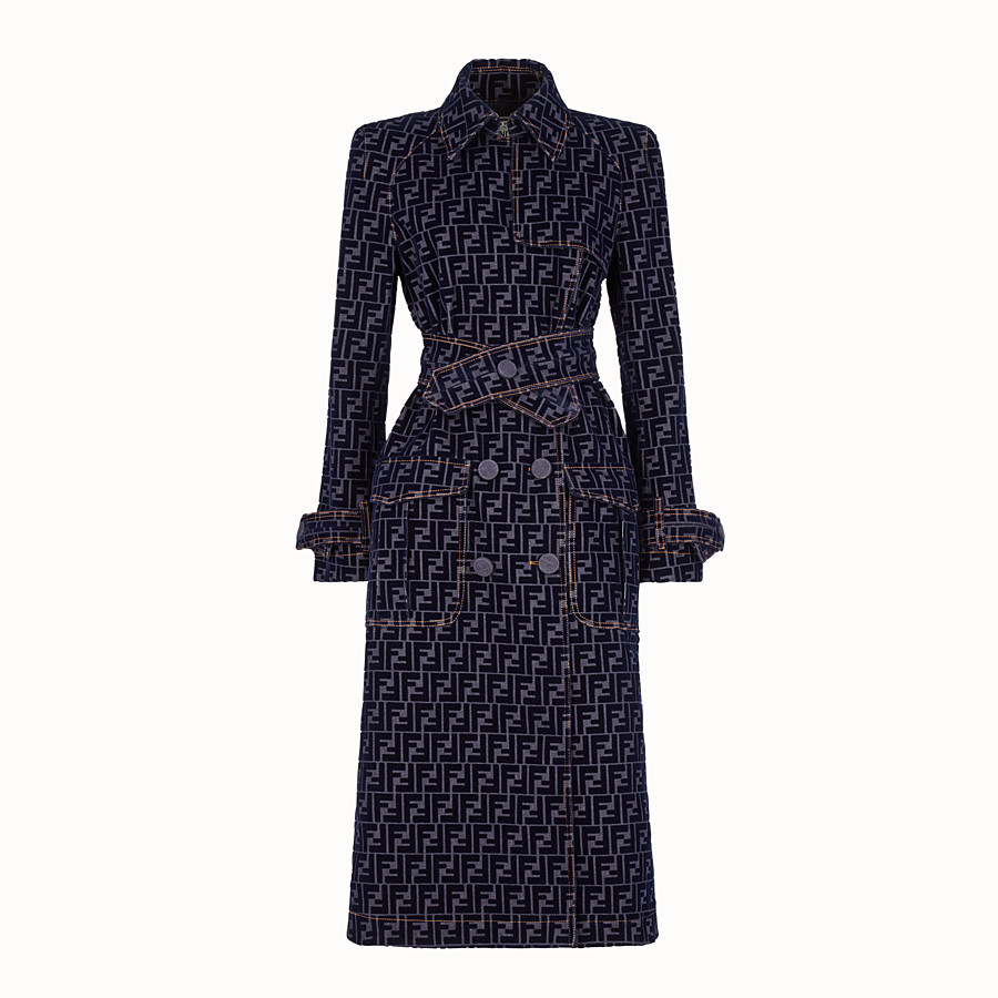FENDI TRENCH COAT - Blue denim trench coat - view 1 detail