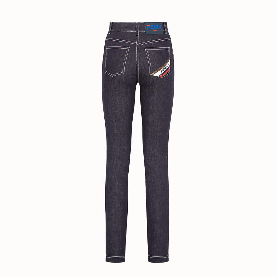 FENDI TROUSERS - Blue denim trousers - view 2 detail