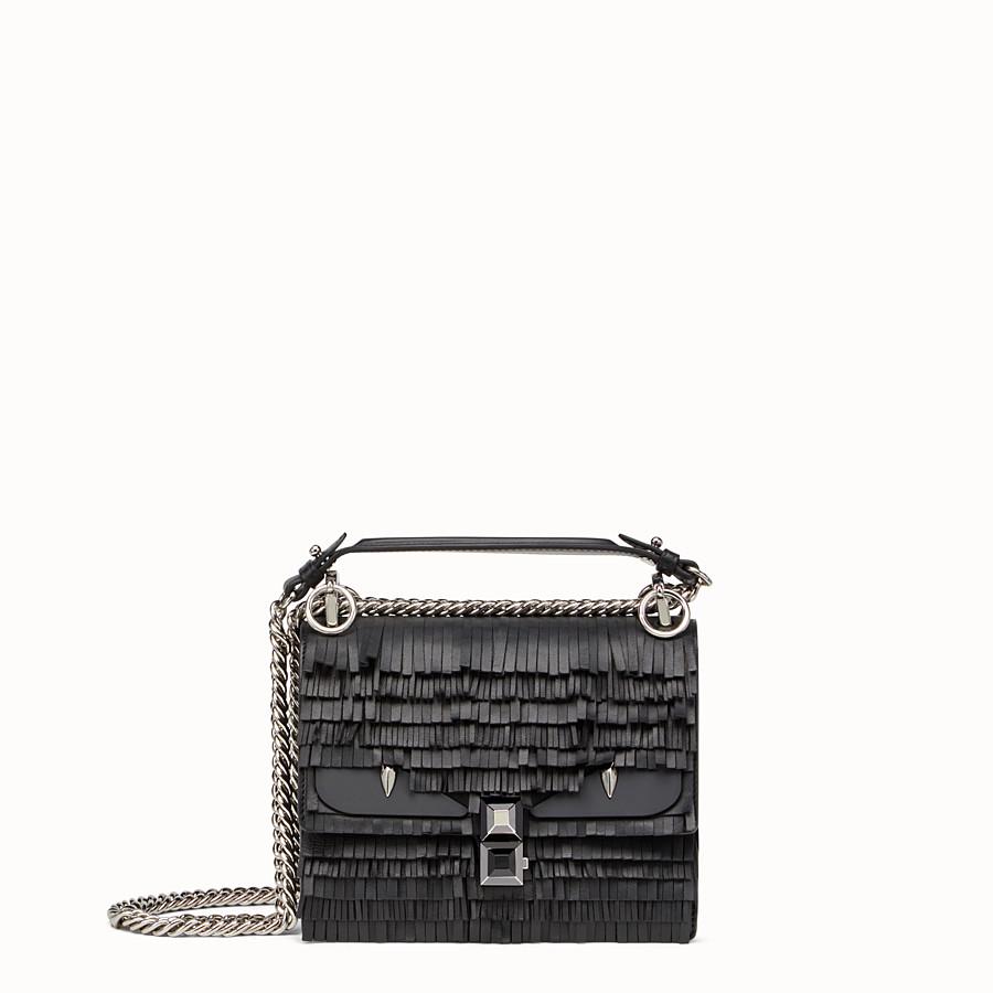 FENDI KAN I SMALL - Black leather mini bag with fringe - view 1 detail