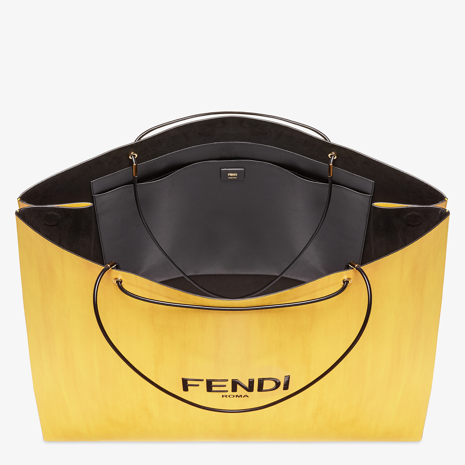 FENDI FENDI PACK LARGE SHOPPING BAG - Yellow leather bag - view 4 detail