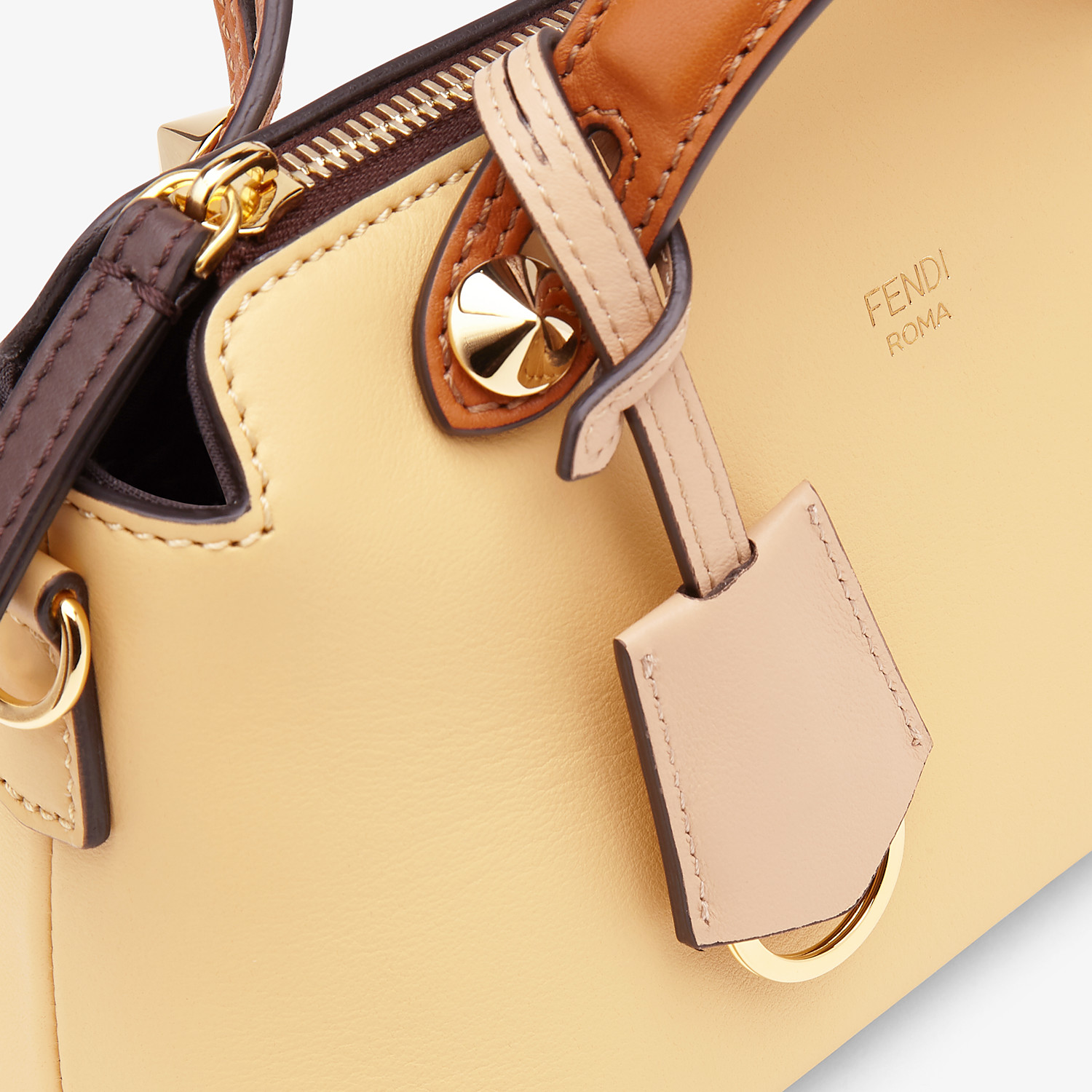 FENDI BY THE WAY MINI - Yellow leather small Boston bag - view 5 detail