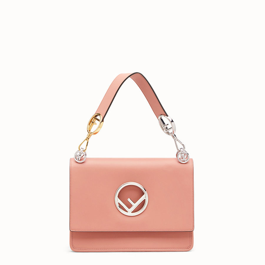 FENDI KAN I LOGO - Pink leather bag - view 1 detail