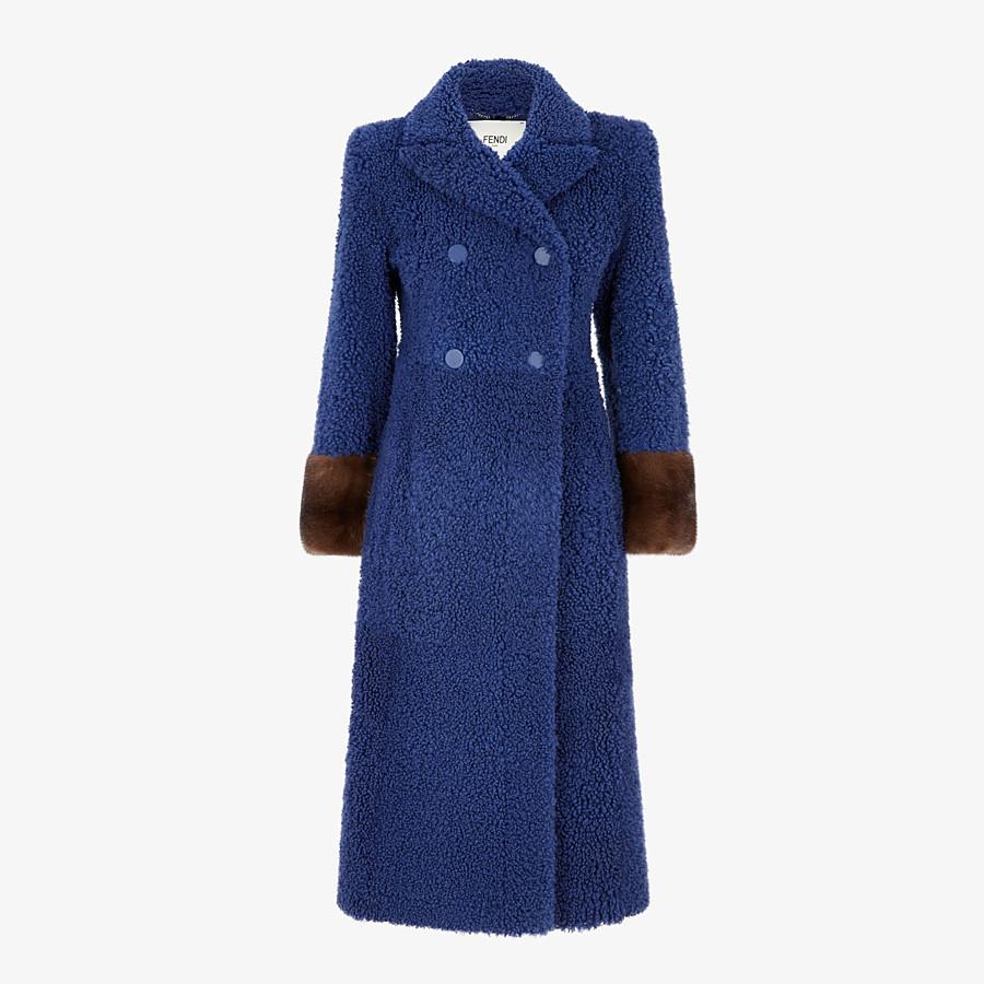 FENDI COAT - Blue shearling coat - view 1 detail