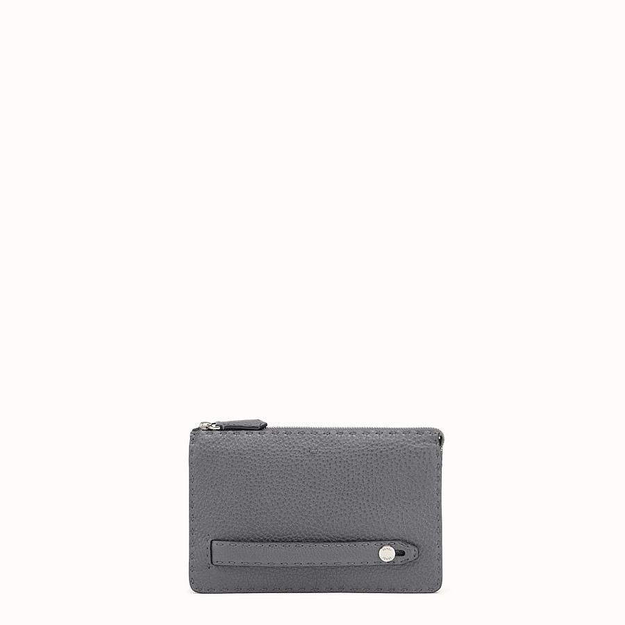 FENDI CLUTCH - in grey Roman leather - view 1 detail