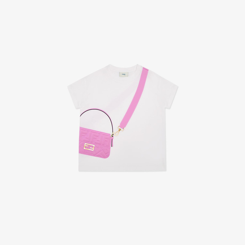 FENDI JUNIOR T-SHIRT - White jersey and pink print junior T-shirt - view 1 detail