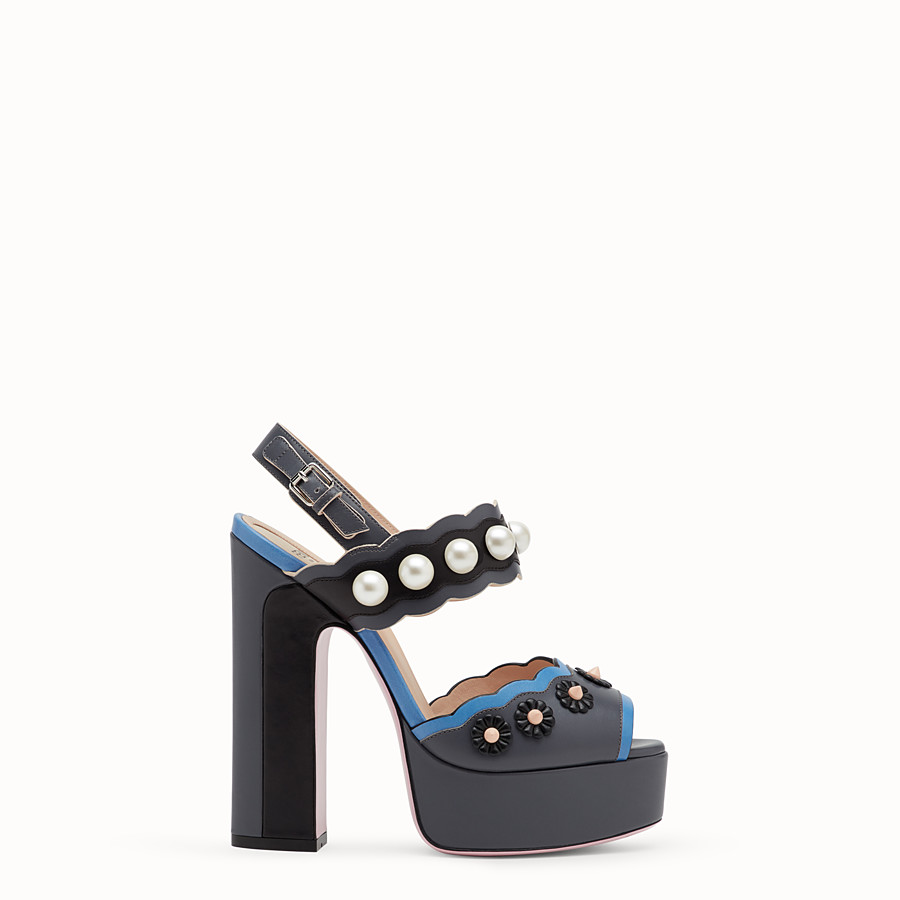 FENDI SANDALS - Heeled sandals in multicolour leather - view 1 detail