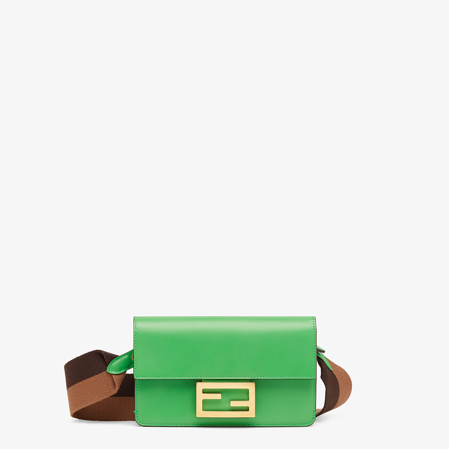 FENDI FLAT BAGUETTE - Green leather mini bag - view 1 detail