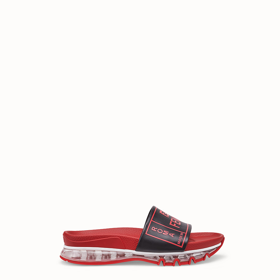FENDI SANDALS - Red leather and PU slides - view 1 detail