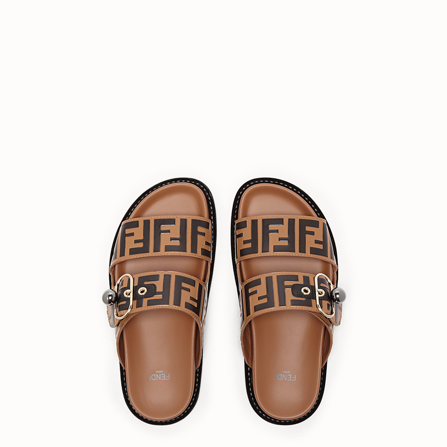 FENDI SANDALS - Multicolour leather flats - view 4 detail