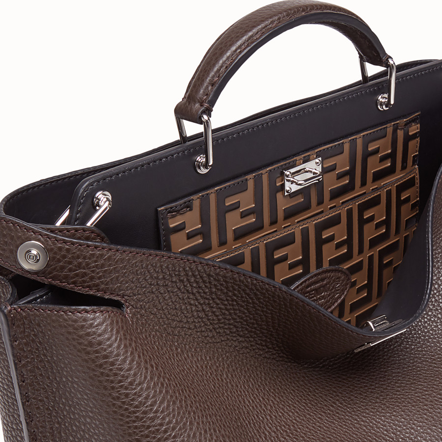 FENDI PEEKABOO ICONIC ESSENTIAL - Brown calf leather bag - view 5 detail