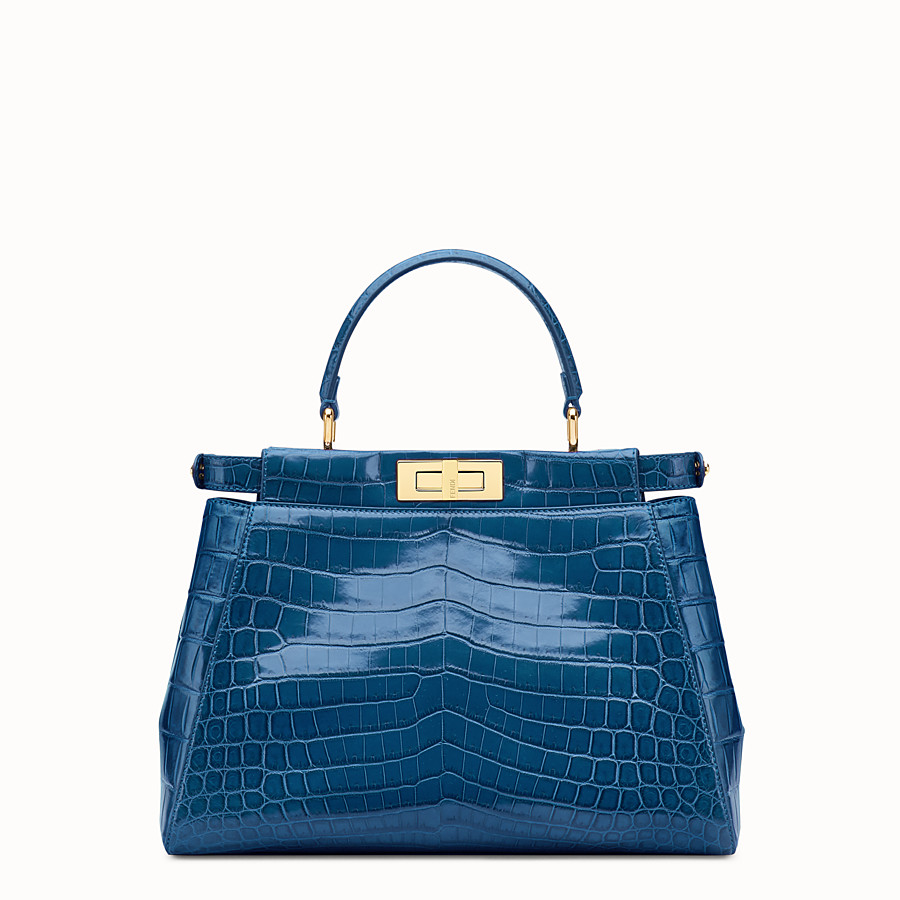 FENDI PEEKABOO REGULAR - Blue crocodile leather handbag. - view 3 detail