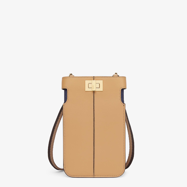 FENDI PEEK-A-PHONE - Beige leather pouch - view 1 detail