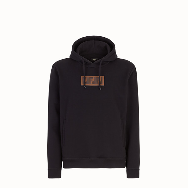 FENDI  - Black cotton and cashmere sweatshirt - view 1 small thumbnail
