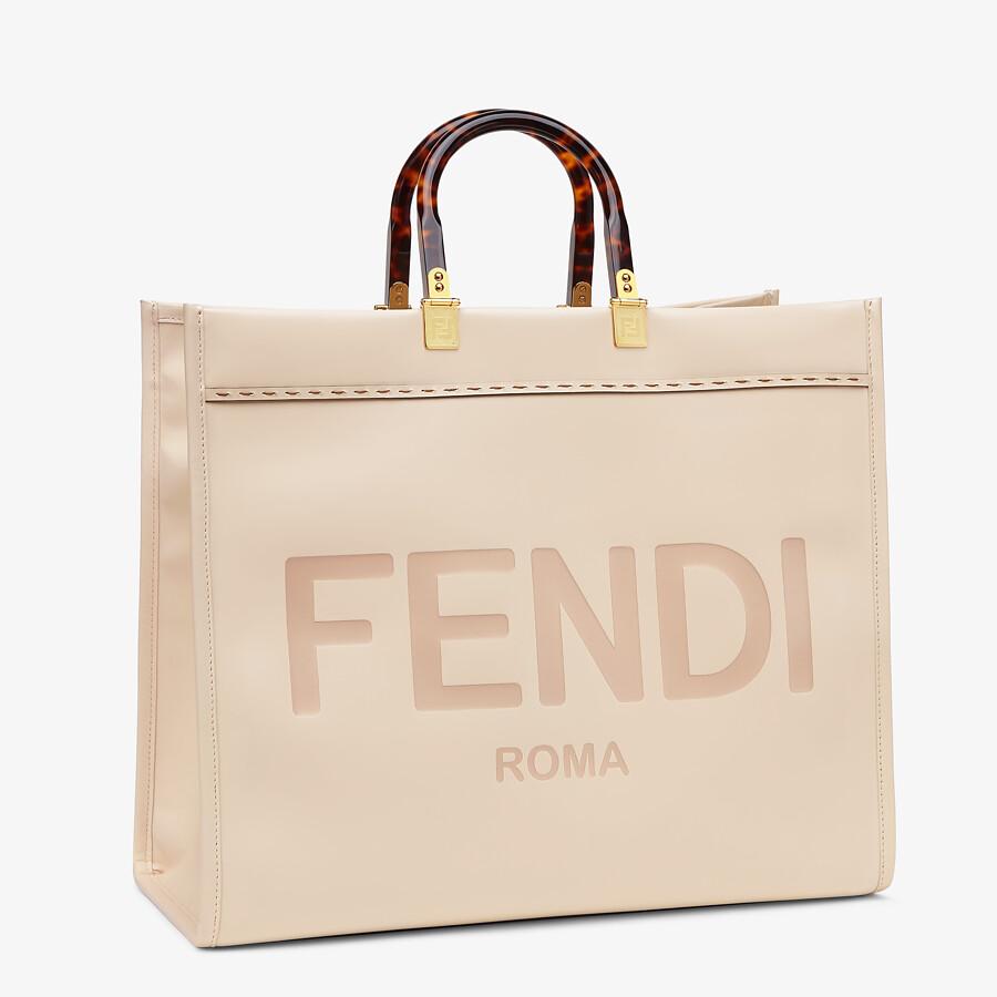 FENDI LARGE FENDI SUNSHINE - Pink leather shopper - view 2 detail