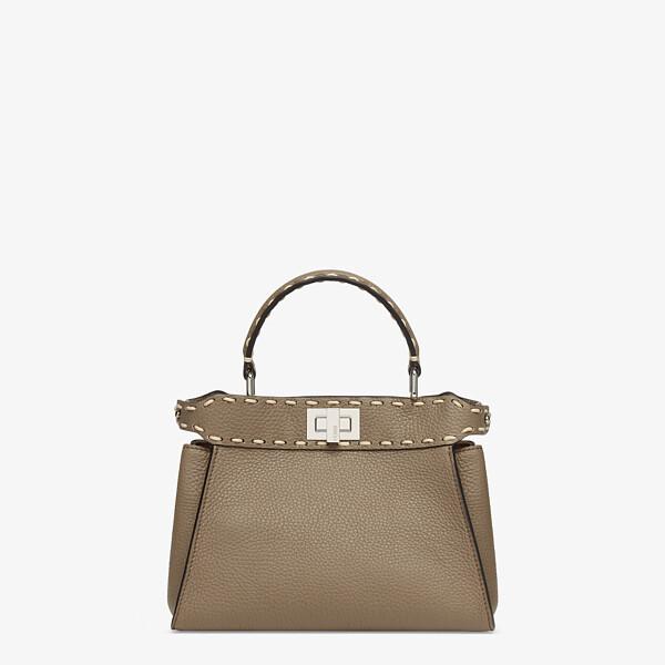 Gray full grain leather bag