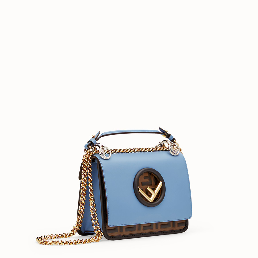 FENDI KAN I F SMALL - Pale blue leather minibag - view 2 detail