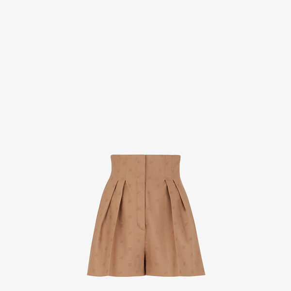 Camel-coloured wool shorts
