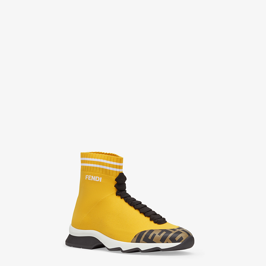 FENDI SNEAKERS - Yellow fabric sneaker boots - view 2 detail