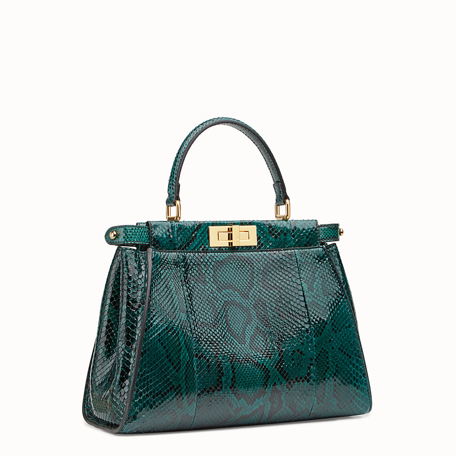 FENDI PEEKABOO REGULAR - Green python handbag. - view 2 detail