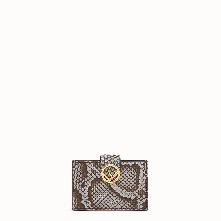 FENDI CARD HOLDER - Grey python gusseted card holder - view 1 detail