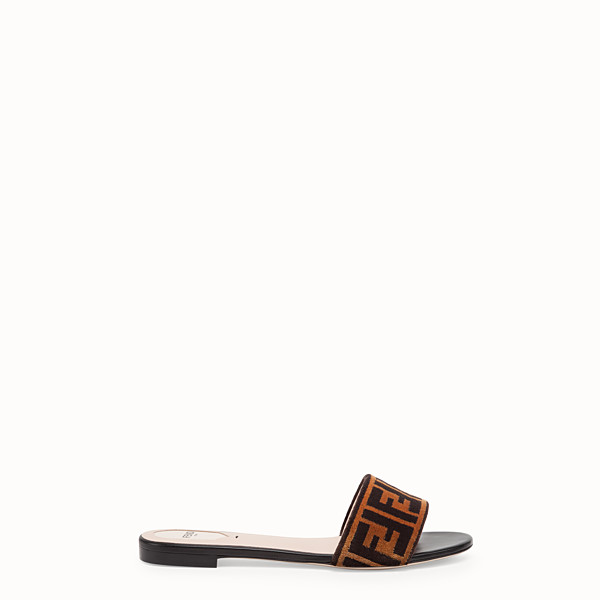 FENDI FLAT SANDALS - Multicolour leather and fabric slides - view 1 small thumbnail