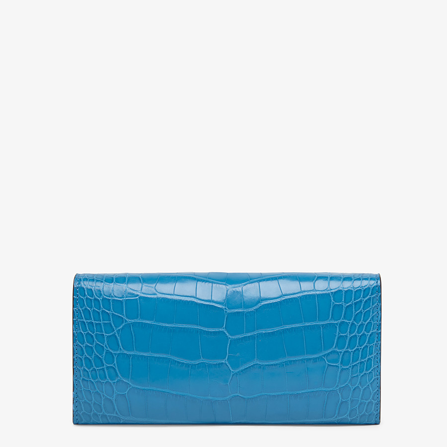 FENDI CONTINENTAL WITH CHAIN - Pale blue alligator wallet - view 3 detail