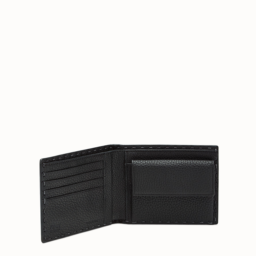 FENDI WALLET - Black leather bi-fold Selleria wallet - view 3 detail