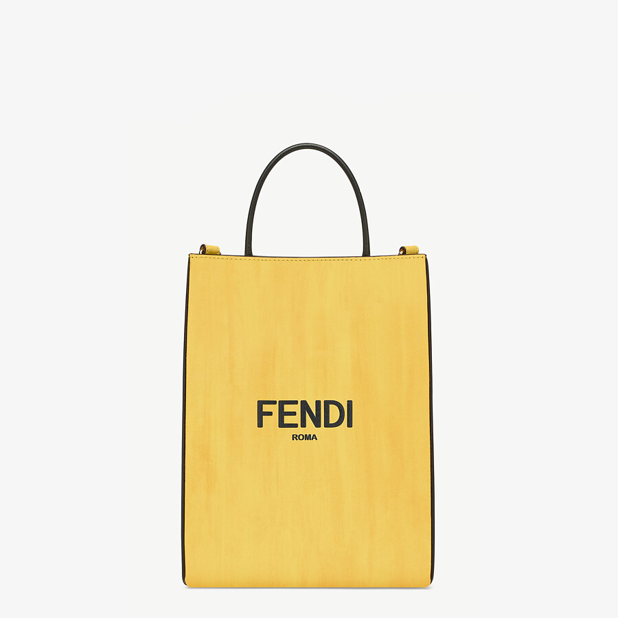 FENDI FENDI PACK SMALL SHOPPING BAG - Yellow leather bag - view 1 detail